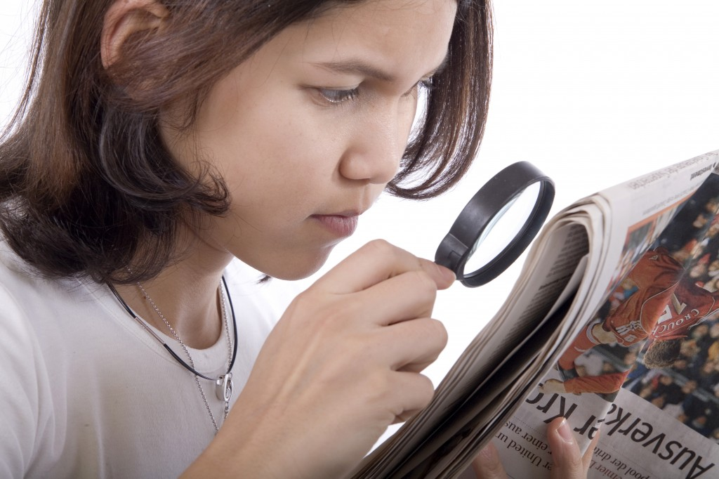 Read with magnifying glass