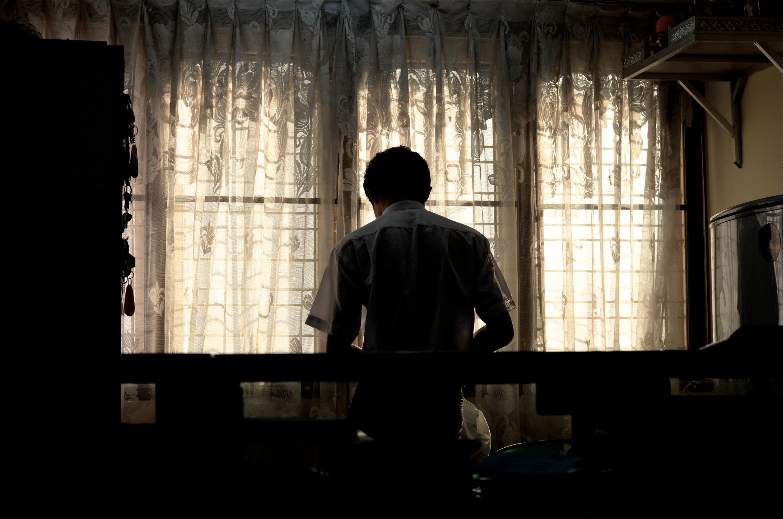 Man Writing Curtain