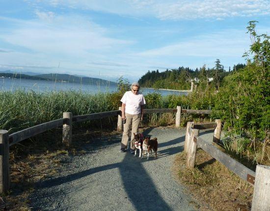 Judith walking her dogs in Anacortes, Washington.