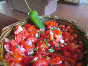 Karen's homemade salsa using the abundance of fresh vegetables for sale in the local mercado.