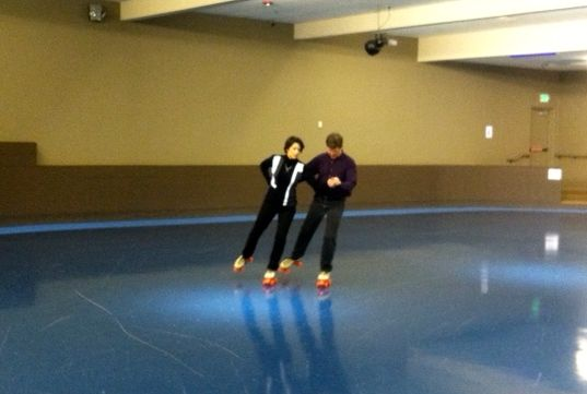 "Jim and I doing the ""couples skate."""