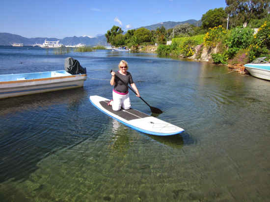 Karen's first attempt on a SUP board. Since then she's learned to navigate it standing up. Next goal is to get on and off without flailing about.