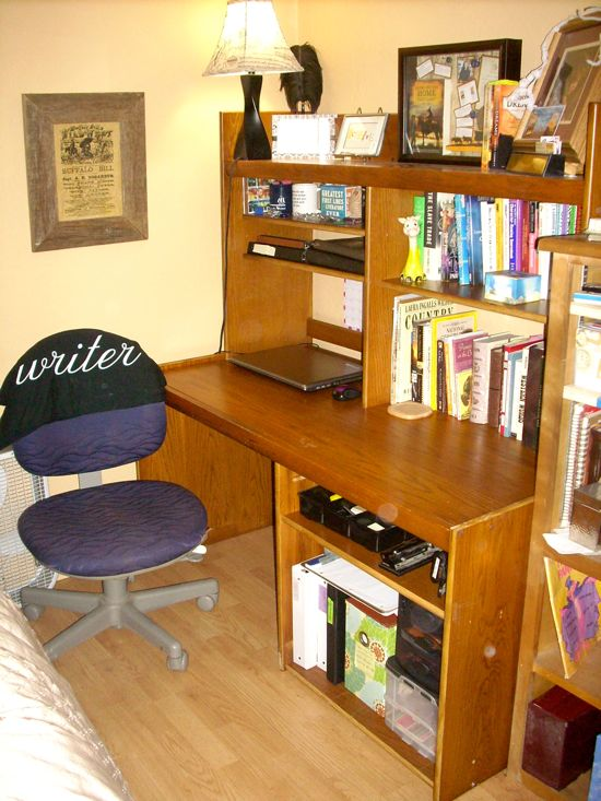 A picture of my new desk. It's clean now because I'm between books, but once I get started on another book it will be covered with papers!