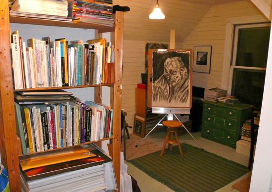 One of Patty's drawings on an easel in her attic studio in her old Victorian house in Portland, Oregon.