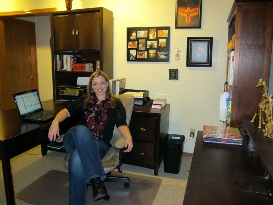 This is my office where all the magic happens. Ha! We writers know better, don't we? You can see the trays I talked about behind me.
