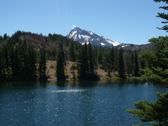 One of Patty's favorite places in nature. South Matthieu Lake with North Sister (the mountain in the background). In the Three Sisters Wilderness in Central Oregon.