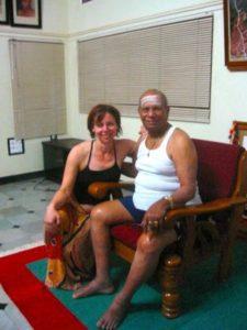 Practicing yoga in India.