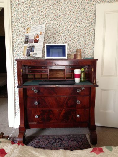 My makeshift desk at my writing residency in Edwards Place (through the Springfield Art Association), a historic home built in 1833.