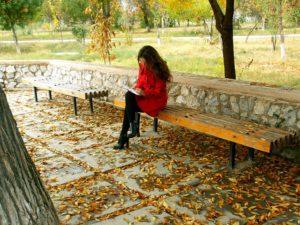 Woman Write Bench