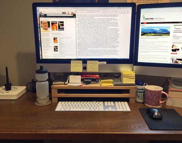 Author-built monitor riser, with a shelf for hand-saving Wacom pen tablet.