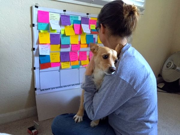 "Working with a plotting board method called ""Plotting by Color""—a take on ""Save the Cat"" by Cherry Adair."