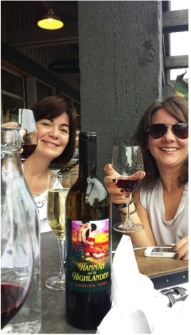 "Celebrate the successes! My friends Wendy Delaney and Natalie French (also authors, and friends from before any of us were published) share a glass of wine celebrating my first New York release, ""Hannah and the Highlander"" (St. Martin's Press)."