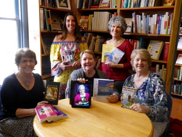One of my writing groups at our local independent book store, Four Seasons Books in Shepherdstown. These are the writers who save my sanity every week. We had a group book signing event there.