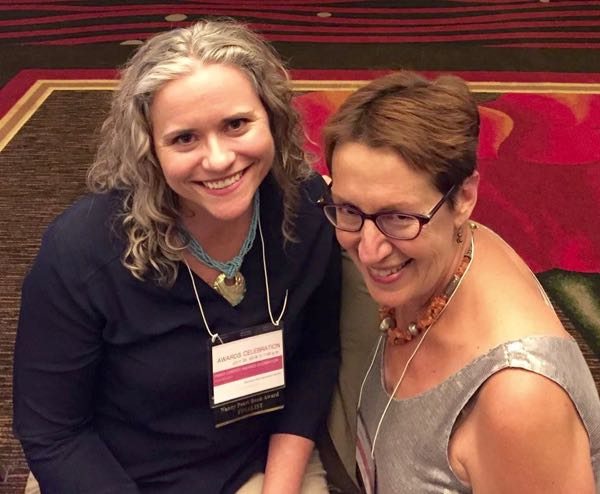 Lisa Brunette with Martha Crites at the Pacific Northwest Writers Association conference. Both authors were finalists for the Nancy Pearl Book Award.