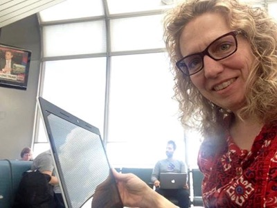 Write every day!  Even on her book tour last summer, Michelle found time to write in airports, hotels and restaurants along the way. Here she is at O'Hare International.