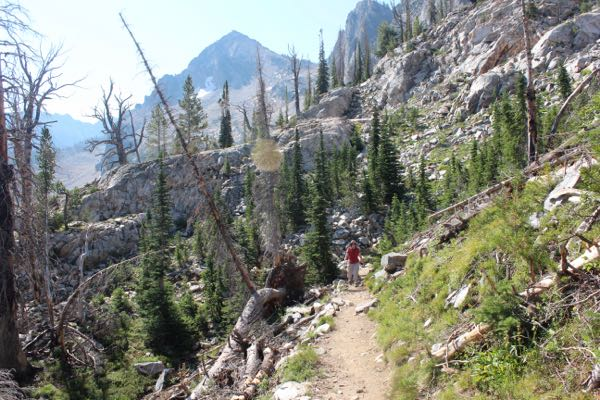Hiking to Sawtooth Lake.