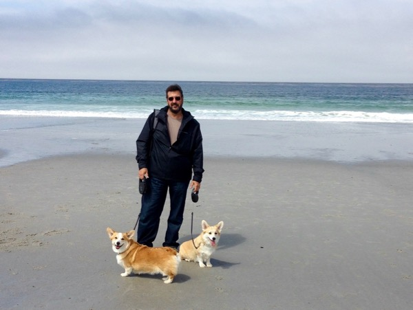James with Corgis