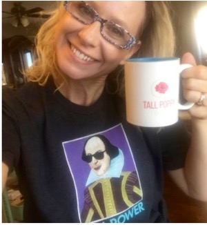 "Tina doesn't wait for inspiration to write, but her ""will power"" t-shirt and Tall Poppy Writer mug help get her going."