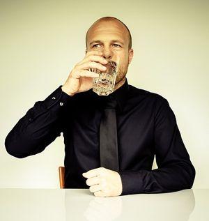 businessman drink water
