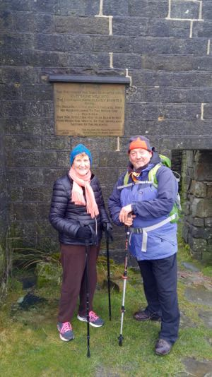 The day I hiked to Wuthering Heights. I'm standing in front of the Bronte house with a guide.