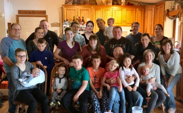 Family photo of our kids, spouses, and grand-kids from last year. And we are missing three grand-kids!