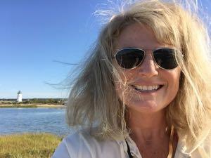 Renee hiking to the lighthouse--Edgartown, MA.