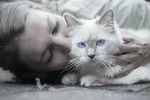 woman white cat