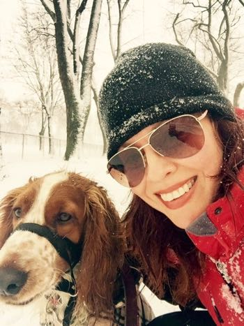 Writer Jennifer Ammoscato and the best walking partner in the world, her Welsh Springer Spaniel Remy.